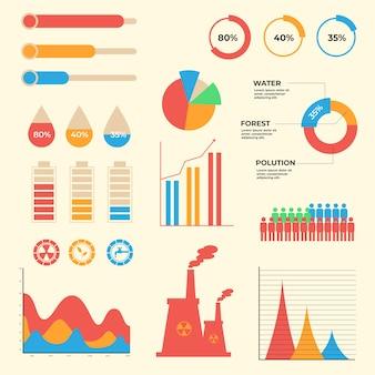 레트로 색상으로 플랫 생태 infographic