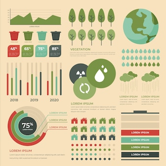 Flat ecology infographic with retro colors