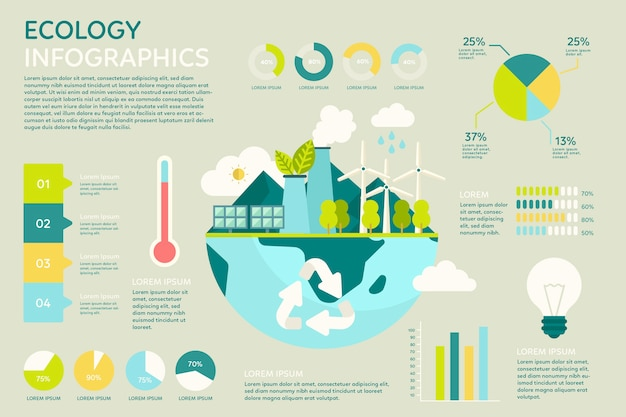 Flat ecology infographic with retro colours