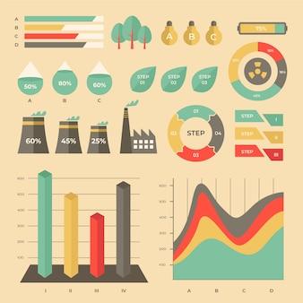 빈티지 색상으로 플랫 생태 infographic