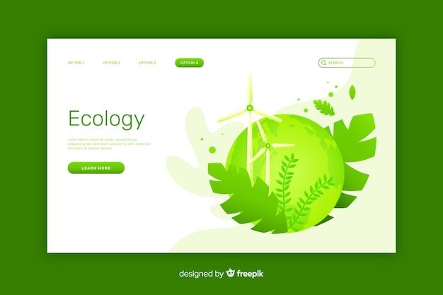 Flat ecology landing page template