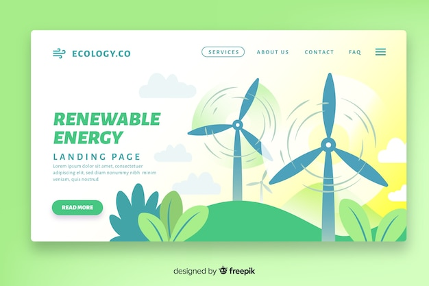 Flat ecology landing page template