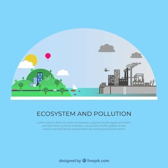 평평한 생태계 및 오염 설계