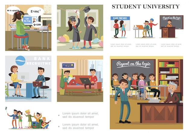 Composizione colorata di educazione piatta con studenti che imparano studiando rilassandosi ottenendo lavoro prendendo esame e celebrando la laurea dall'università