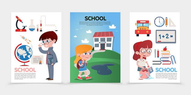 Flat education posters