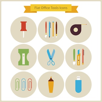 Flat education school and business office tools icons set. back to school and education set. collection of school and university circle icons. business life. workplace tools and instruments