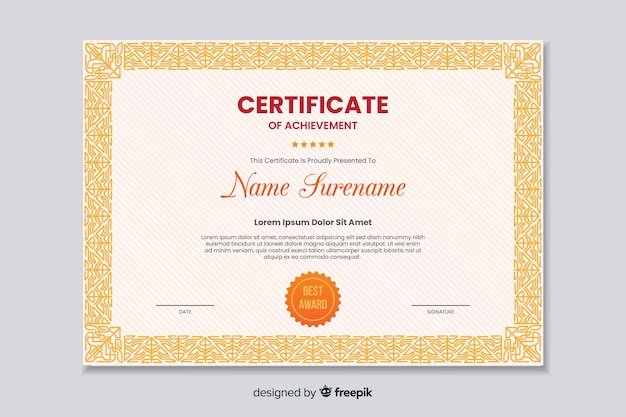 Flat educational certificate of achievement