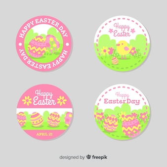 Flat eggs easter badge collection