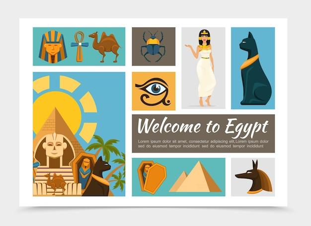 Set di elementi piatto egitto con il faraone e le maschere di dio anubi cammello ankh croce scarabeo scarabeo gatto egiziano principessa piramidi sfinge occhio di horus illustrazione,