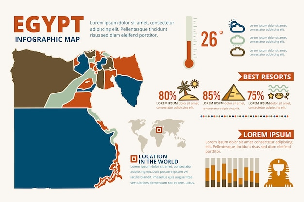 Flat egypt map infographic template