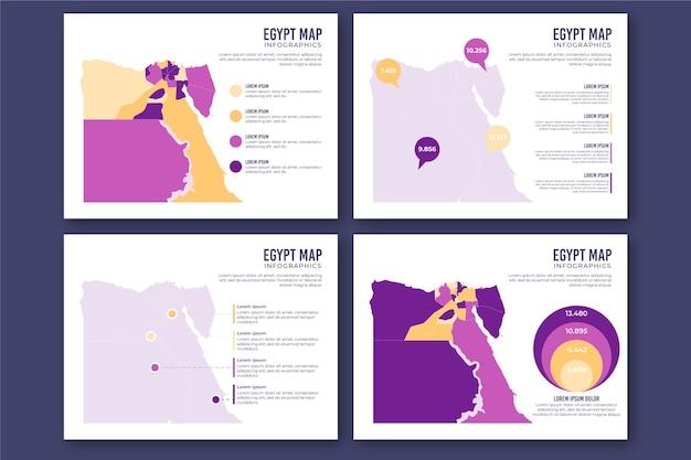 Плоская карта египта инфографики