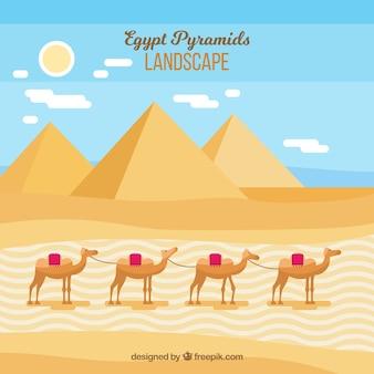 Flat egypt pyramids landscape with camel caravan