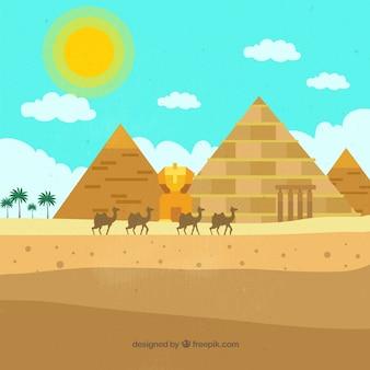 Плоский египетский пирамида пейзаж с караваном верблюдов