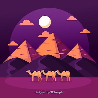 낙타의 캐러밴으로 플랫 이집트 피라미드 풍경