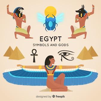 Плоские египетские символы и коллекция богов