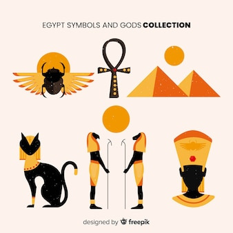 Flat egyptian symbols and gods collection