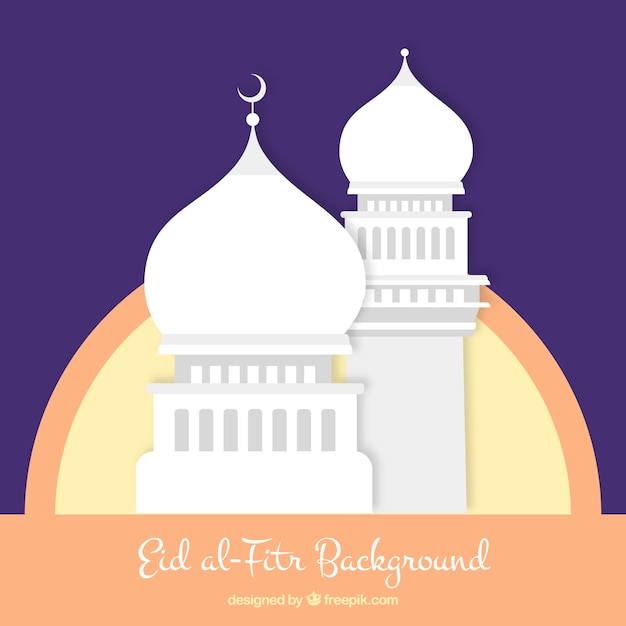 Flat eid al-fitr background with a mosque