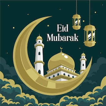 Flat eid al-fitr eidmubarakイラスト