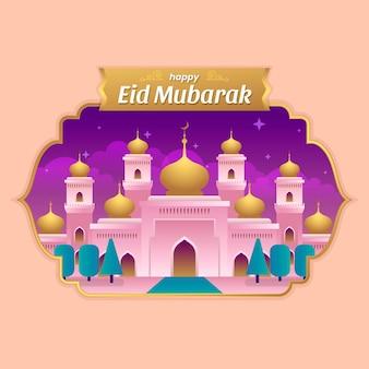 Flat eid al-fitr - eid mubarak illustration