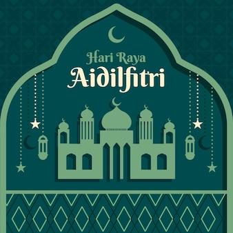 Плоский ид аль-фитр - иллюстрация хари райя аидилфитри