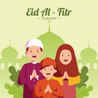 Flat eid al-fitr illustration
