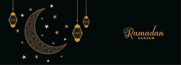 Flat eid moon and stars ramadan kareem banner