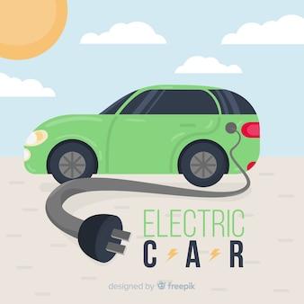 Плоский электрический автомобиль фона