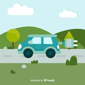 Flat electric car background