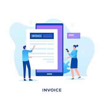 Flat electronic invoice concept.