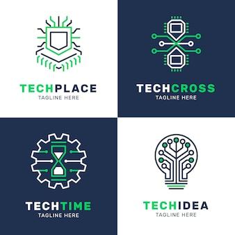 Коллекция логотипов плоской электроники