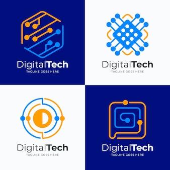 Плоские шаблоны логотипов электроники