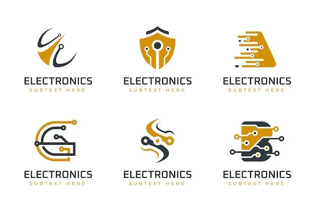 Modelli di logo di elettronica piatta