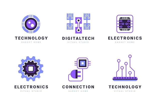 Flat electronics logo templates