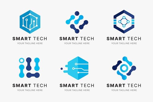 Flat electronics logos collection