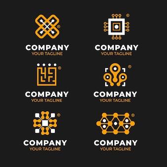 Набор логотипов плоской электроники