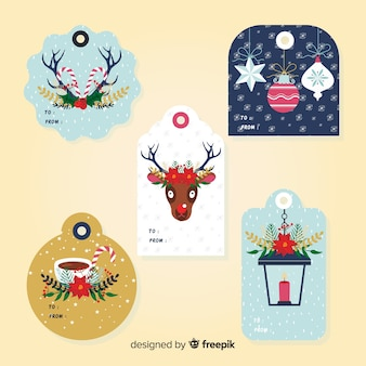 Flat elements christmas label collection