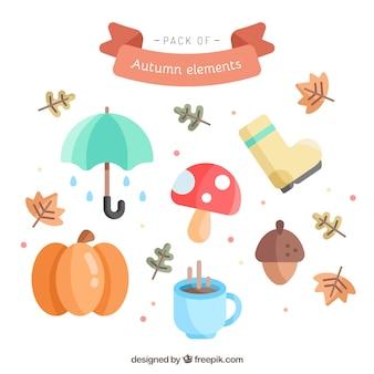 秋のスタイルのフラットな要素