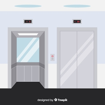 Flat elevator concept with open and closed door
