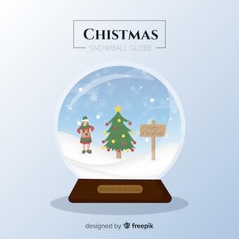 Flat elf girl christmas snowball