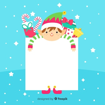 Flat elf with blank sign christmas background