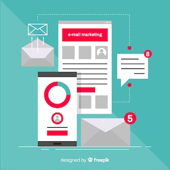 Marketing e-mail piatto