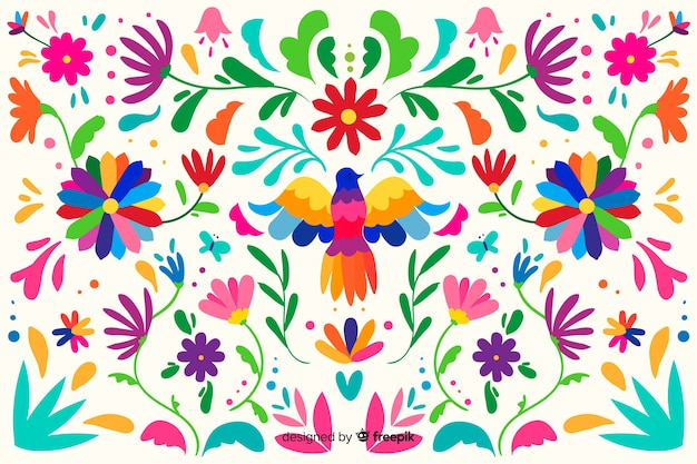 Flat embroidery mexican floral background
