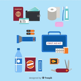 Flat emergency survival kit