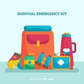 Flat emergency survival kit
