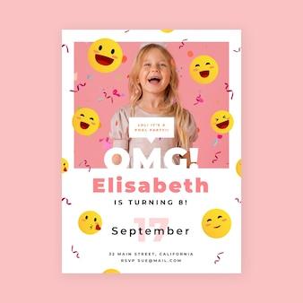 Плоский шаблон приглашения на день рождения emoji с фотографией