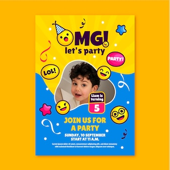 Flat emoji birthday invitation template with photo