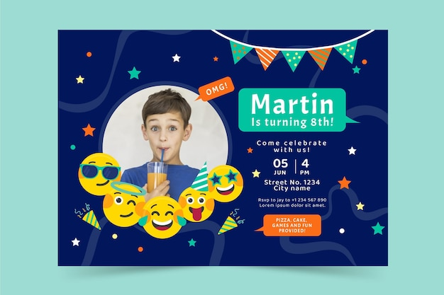 Modello di invito di compleanno emoji piatto con foto