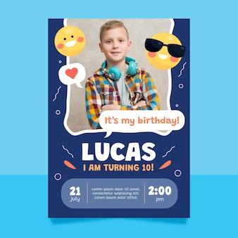 Flat emoji birthday invitation template