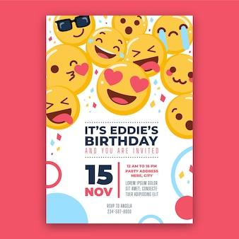 Modello di invito compleanno piatto emoji