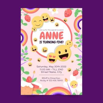 Modello di invito di compleanno emoji piatto
